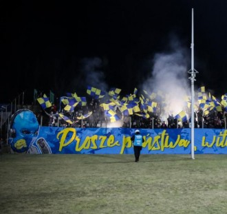 Sporo fanów Arki obecnych w Sosnowcu na meczu z Zagłębiem.